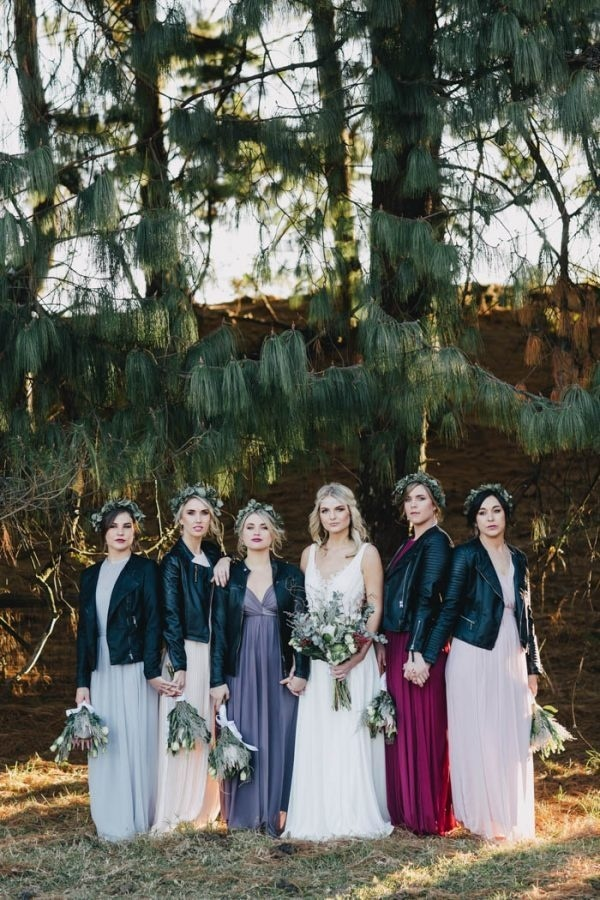 Edgy Bridesmaids Look with Black Leather Jackets