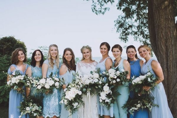 Cheap Wedding Gowns Toronto: Mismatched Blue Bridesmaid Dresses In Shades Of Blue