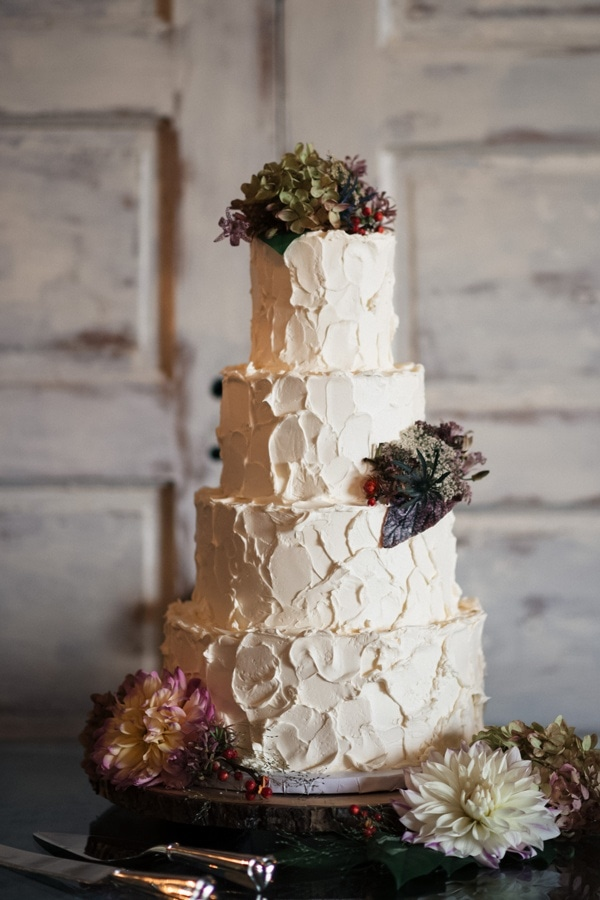 Classic Textured Buttercream Wedding Cake with Fresh Dahlias and Garden Details