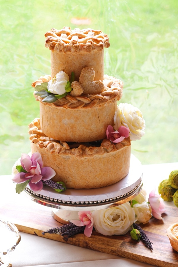 Tall Pie Tiered Wedding Cake with Pink Floral Details  Wedding
