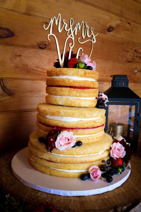 Sweet Angel Food Naked Cake With Rustic Tiered Florals Wedding