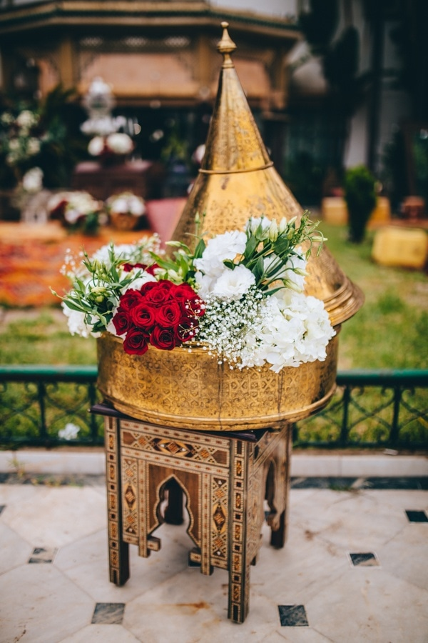 Gold Moroccan Lantern Floral Display with Red and White Roses