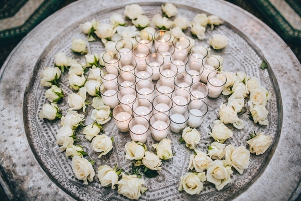 Moroccan-Inspired Tea Light Candle Display with White Roses