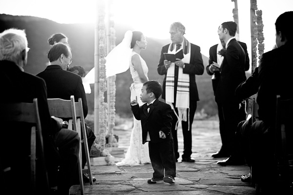young boy shushes the audience at wedding ceremony, photo by Ben Chrisman of Chrisman Studios | junebugweddings.com