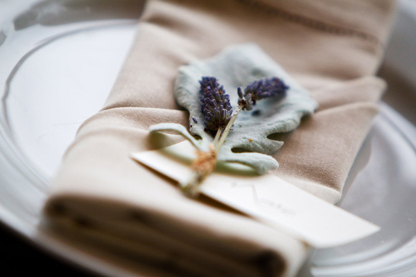 pretty lavender place setting wedding detail photo by top D.C. based wedding photographers Holland Photo Arts