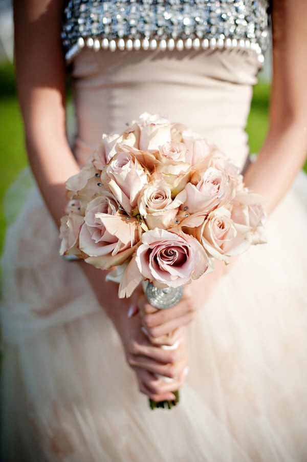 pale pink rose bridal bouquet detail photo by top Houston based wedding photographers Studio 563