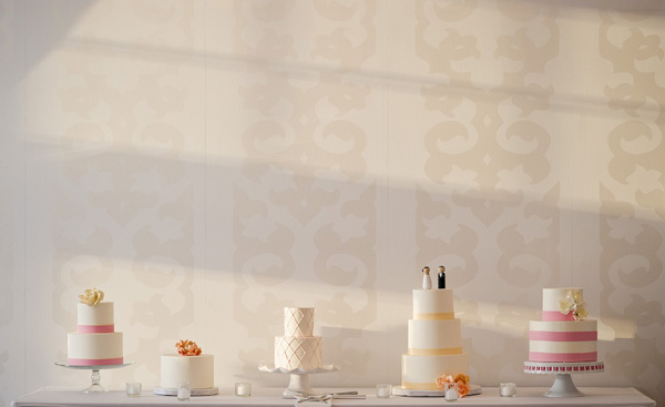 modern white wedding cakes - wedding detail photo by top Boston based wedding photographer Kate McElwee