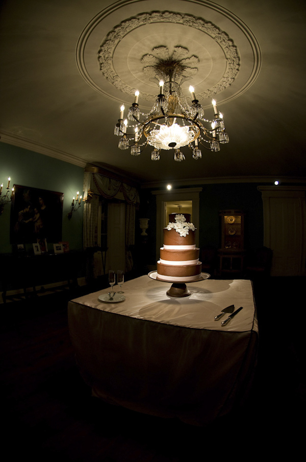 dramatic chocolate wedding cake photo by top South Carolina based wedding photographer Leigh Webber Photography
