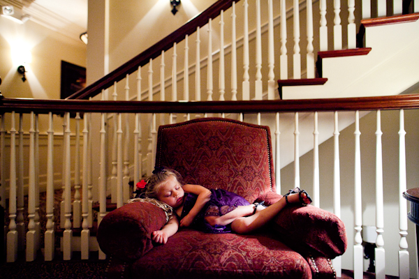 adorable little girl asleep after wedding - sweet wedding photo by top michigan wedding photographer Dan Stewart