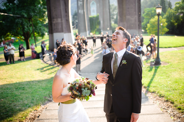 outdoor fall wedding, Cathedral Park, Portland, OR - photos by top Portland wedding photographer Aaron Courter