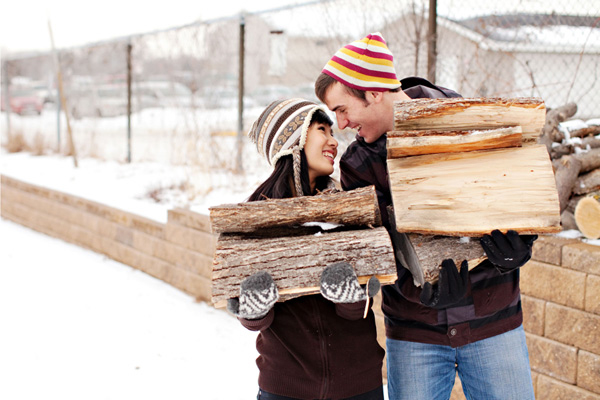 snowy winter engagement shoot by top Minnesota wedding photographer Beau Petersen