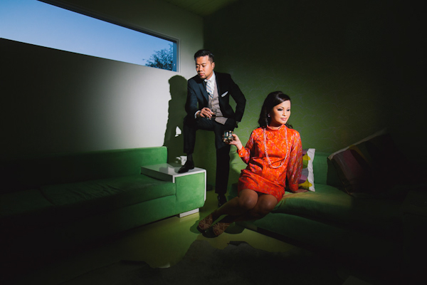 retro engagement session in Palm Springs, California with photos by Callaway Gable | junebugweddings.com
