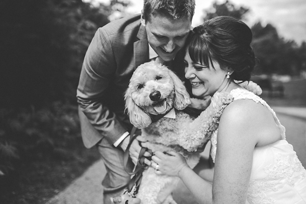 dog with bride and groom at wedding, photo by Jennifer Moher Photography | junebugweddings.com
