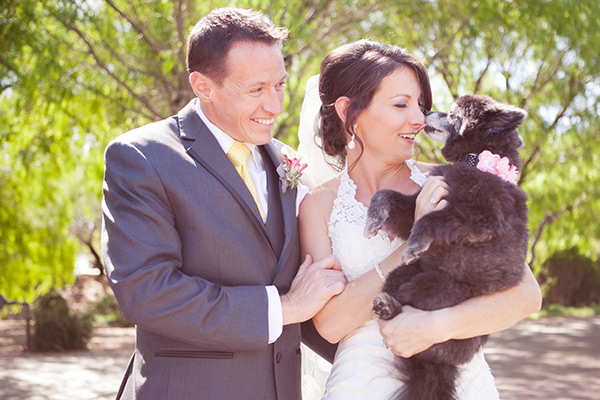 dog with bride and groom at wedding, photo by Tina with Melissa Jill Photography | junebugweddings.com