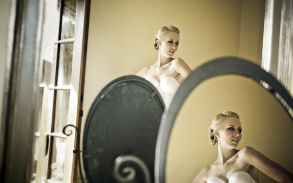 bride getting ready in vanity mirror - inventive perspective - genius alternative wedding portrait by Bay Area photographers Alisha and Brook Todd