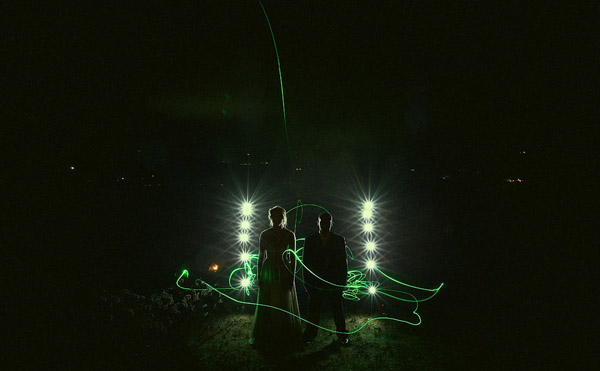 creative light painting wedding photo by Southern California and destination wedding photographer Jeff Newsom