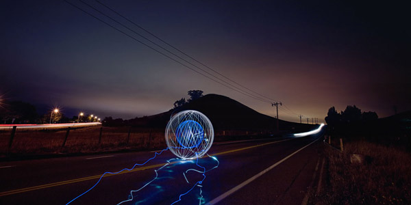 creative light painting photo by Southern California and destination wedding photographer Jeff Newsom