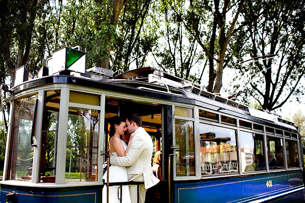 Amsterdam trolley wedding on Electrische Museumtram - photos by top North Carolina wedding photographer Tracy Turpen