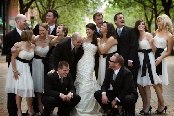 classically composed and beautiful wedding group photo by J. Garner Studios