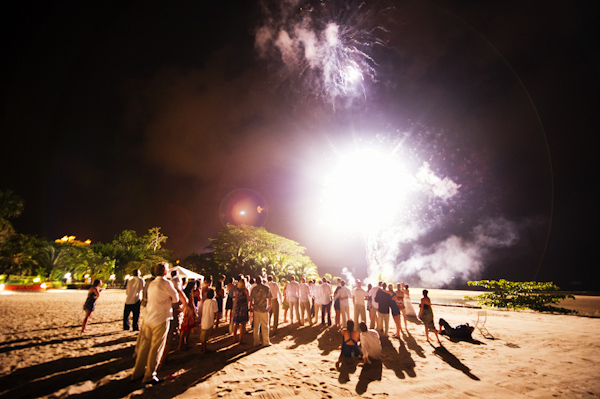 photo of wedding reception fireworks on the beach - Marriott Los Suenos Resort, Costa Rica - photo by Denver based destination wedding photographer Otto Schulze