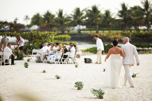 bride and groom walking down aisle - beach ceremony Costa Rica - photo by Denver based destination wedding photographer Otto Schulze