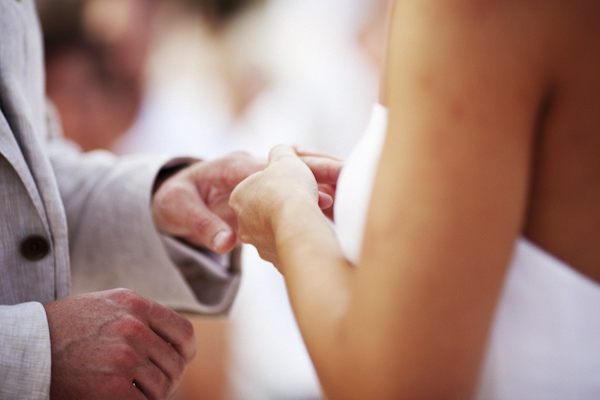 closeup perspective of ring exchange - Costa Rica beach ceremony - photo by Denver based destination wedding photographer Otto Schulze