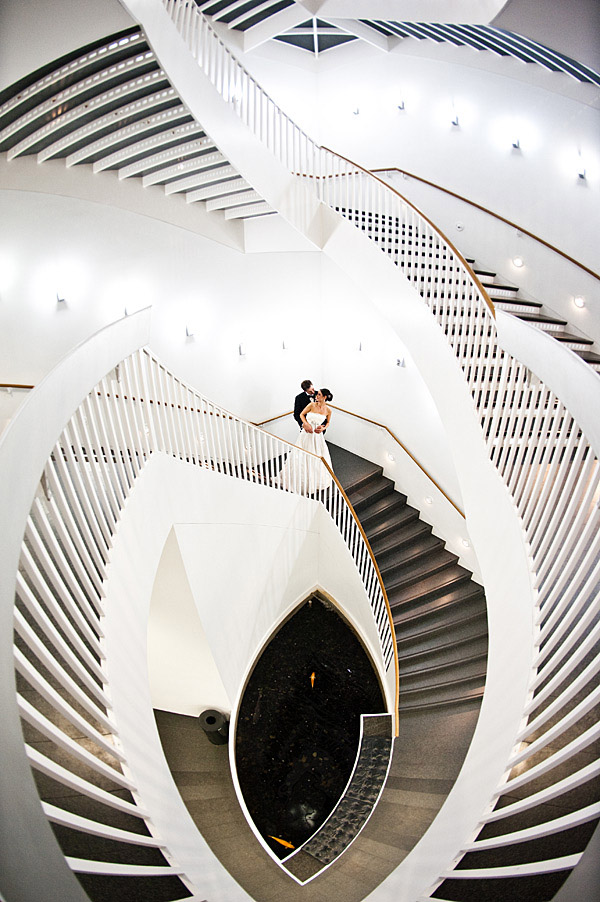 genius staircase wedding portrait by Continuum Photography