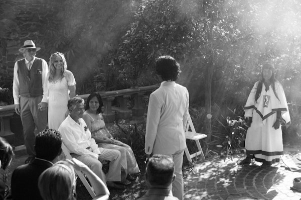 beautiful destination wedding in San Miguel, Mexico - black and white photo of bride entering ceremony with father - photo by top California wedding photographer Brett Butterstein