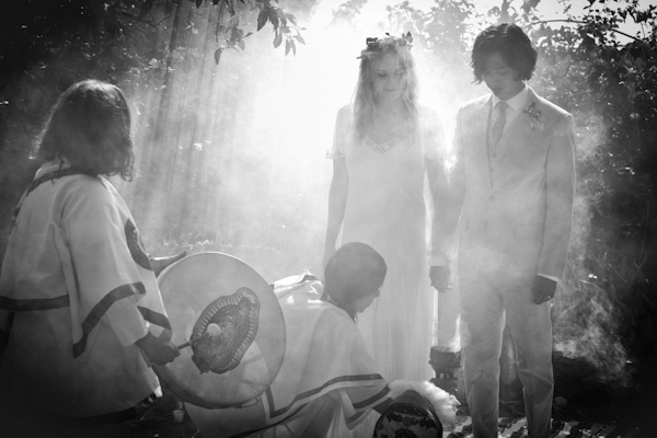 gorgeous black and white photo of Shaman wedding ceremony - beautiful destination wedding in San Miguel, Mexico - photo by top California wedding photographer Brett Butterstein