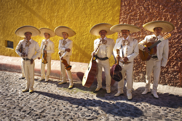 group portrait of traditional, smiling mariachi band - beautiful destination wedding in San Miguel, Mexico - photo by top California wedding photographer Brett Butterstein