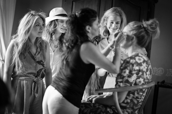 beautiful destination wedding in San Miguel, Mexico - black and white photo of bride getting ready before ceremony - photo by top California wedding photographer Brett Butterstein