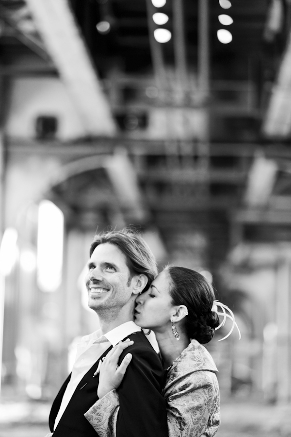 black and white photo of the happy couple - hip, modern Jewish wedding at the Ravenswood Event Center in Chicago - photos by Studio 6.23