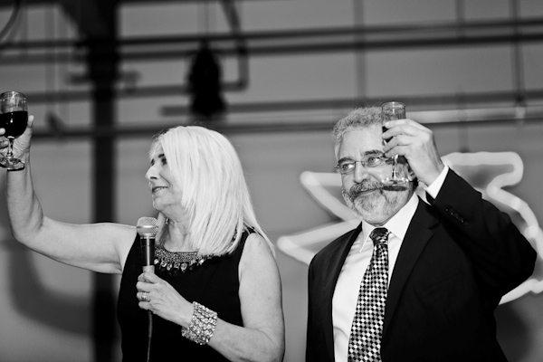 black and white photo of wedding reception toasting - modern Jewish wedding at the Ravenswood Event Center in Chicago - photos by Studio 6.23