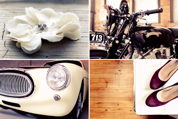 detail shots of bride's accessories with vintage motorcycle and car - hip, modern Jewish wedding at the Ravenswood Event Center in Chicago - photos by Studio 6.23