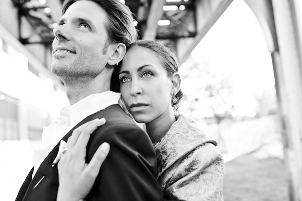 gorgeous black and white portrait of bride and groom - contemporary Jewish wedding at the Ravenswood Event Center in Chicago - photos by Studio 6.23