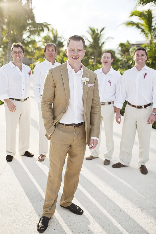classic color group portrait of groom standing in front of groomsmen - tropical resort Riviera Maya, Mexico destination wedding - photo by Dallas based wedding photographer Jeremy Gilliam