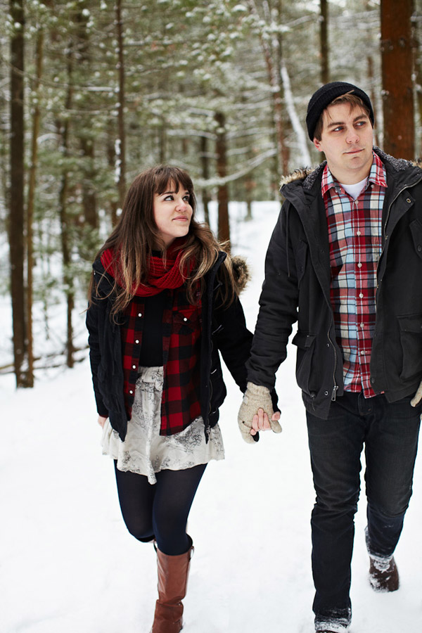 A snowy Michigan engagement photo shoot by Bryan and Mae Photography