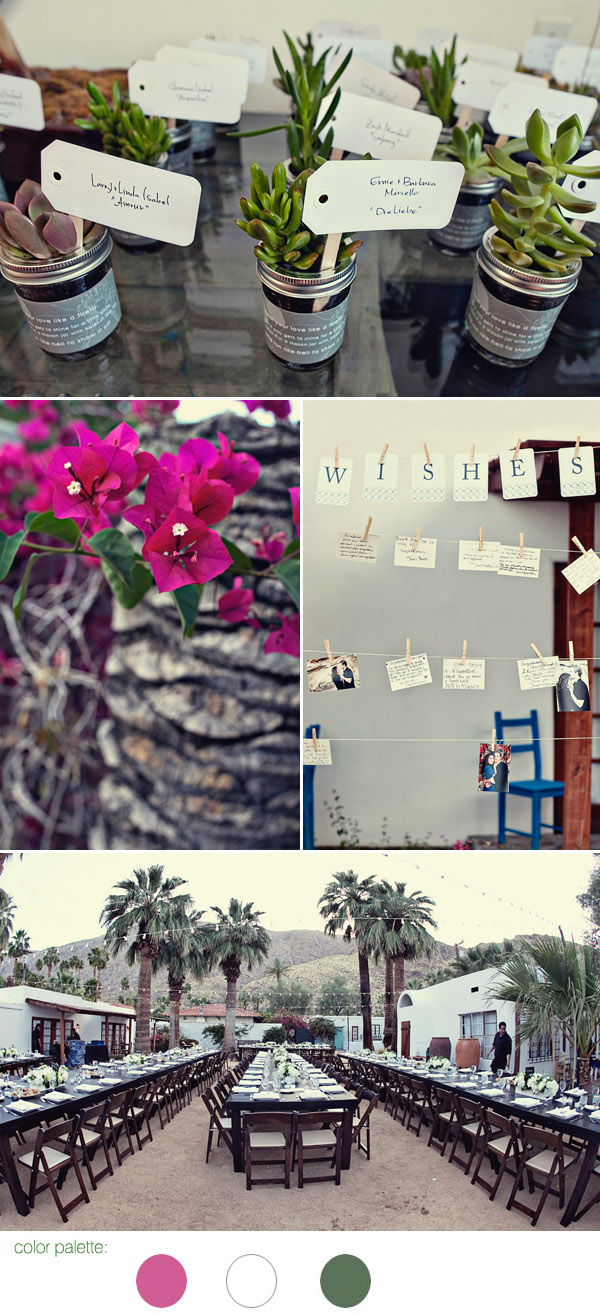 Palm Springs destination real wedding decor details at Korakia Pensione, photos by Joy Marie Photography