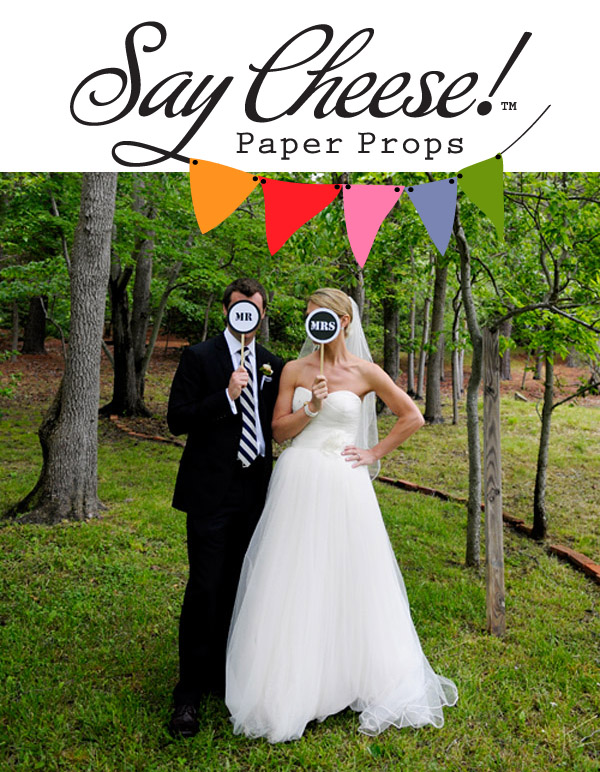 paper wedding photo booth props from Say Cheese Paper Props