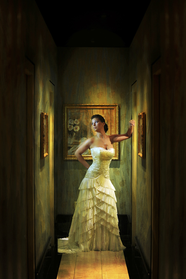 classic portrait of beautiful bride in art-lined hallway - fine art wedding photo by top Dallas based photographer Paul Ernest
