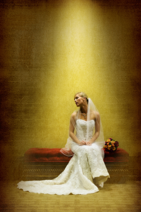 beautiful bridal portrait, yellow background, textured processing - fine art wedding photo by top Dallas based photographer Paul Ernest