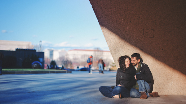 fun urban engagement in washington d.c. - creative winter engagement photos by to D.C. wedding photographer Sam Hurd
