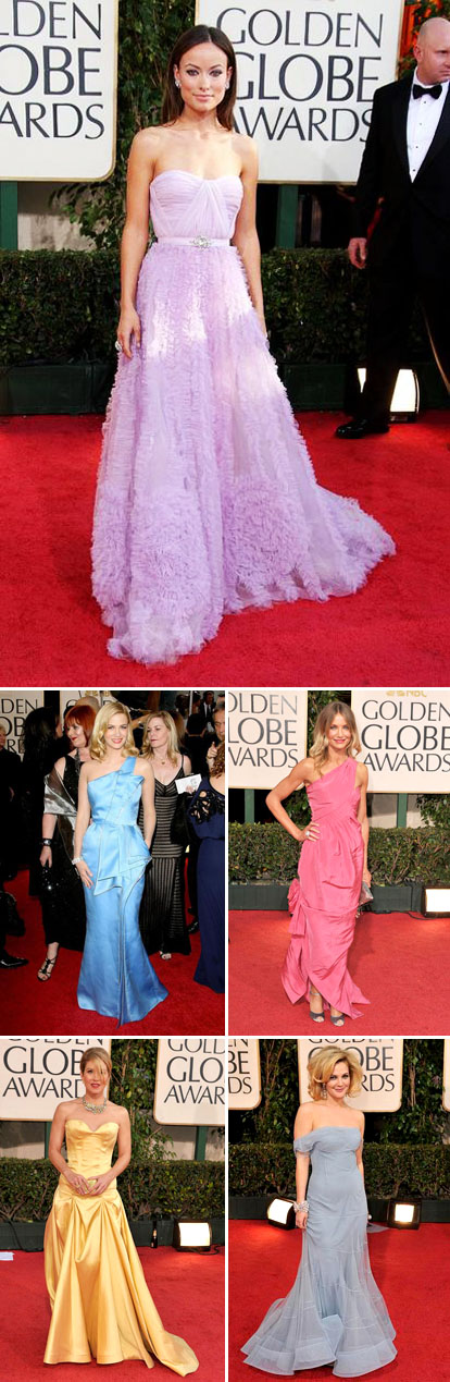 pastel wedding dress inspiration from the 2009 Golden Globe red carpet, via Yahoo's OMG blog, Olivia Wilde, January Jones, Cameron Diaz, Christina Applegate and Drew Barrymore