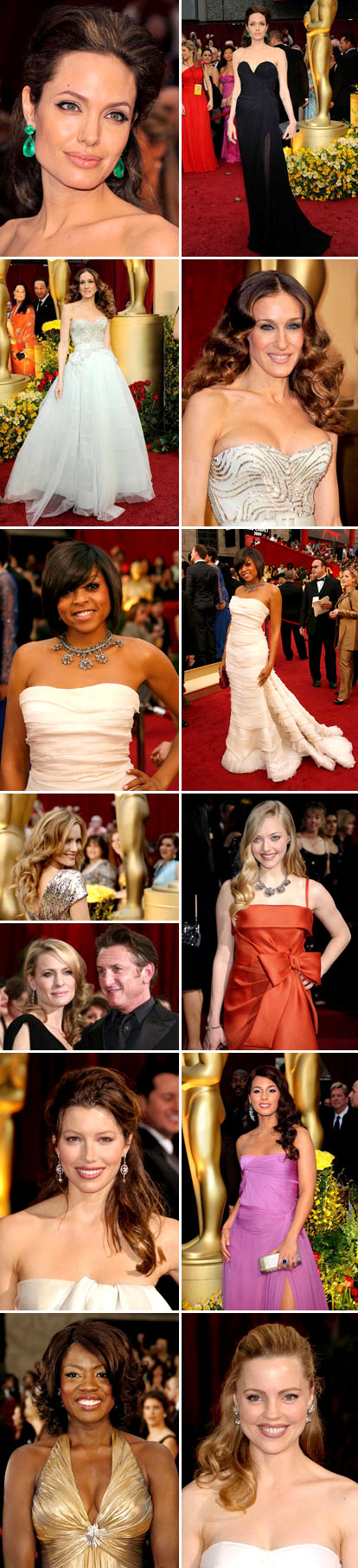 Hairstyles and fashion from the 2009 Academy Awards red carpet, bridal inspiration, Angelina Jolie, Jessica Biel, Sarah Jessica Parker, Robin Wright Penn, Amanda Seyfried, Alicia Keys, Taraji P. Henson, and Viola Davis