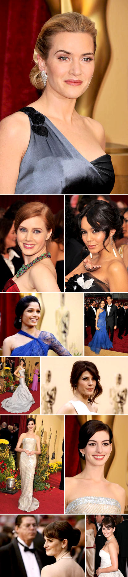Hairstyles and fashion from the 2009 Academy Awards red carpet, bridal inspiration, Kate Winslet,Freida Pinto, Anne Hathaway, Penelope Cruz, Amy Adams, Vanessa Hudgens and Marisa Tomei