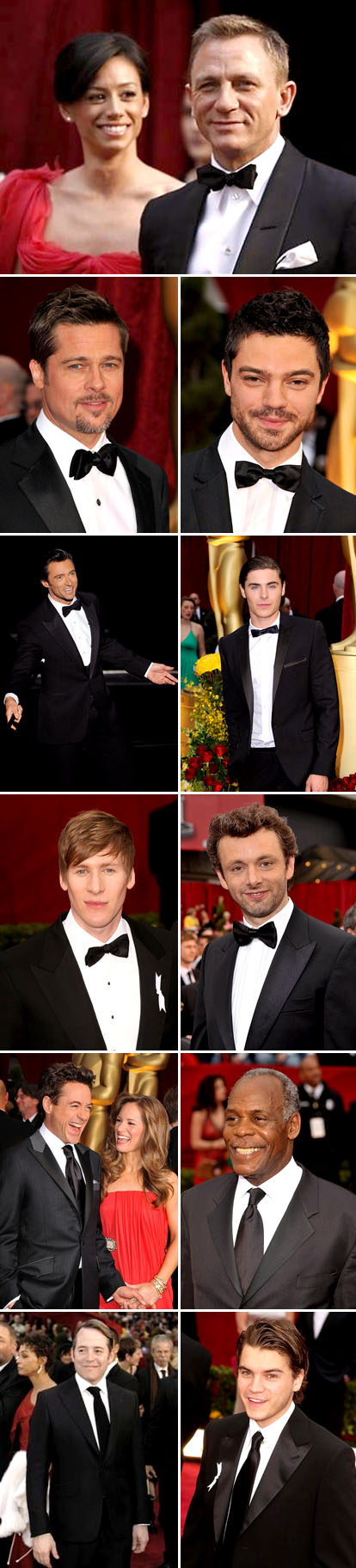 Men's wear wedding inspiration from the 2009 Academy Awards, classic and modern tuxedos on James Craig, Brad Pitt, Dominic Cooper, Hugh Jackman, Zach Efron, Robert Downey Jr., Matthew Broderick and Emile Hirsch