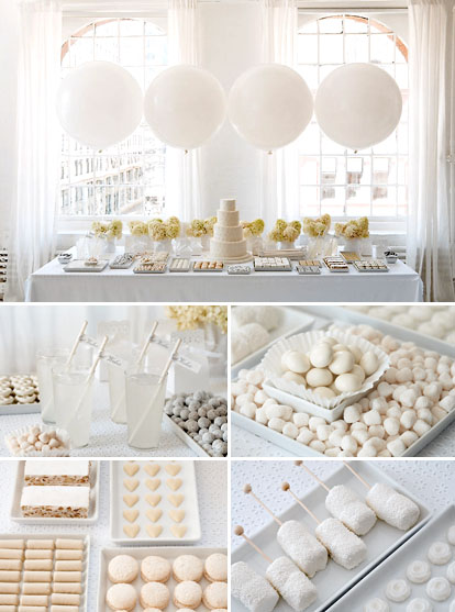 Wedding dessert tables and images by Amy Atlas Events, white wedding bridal shower brunch