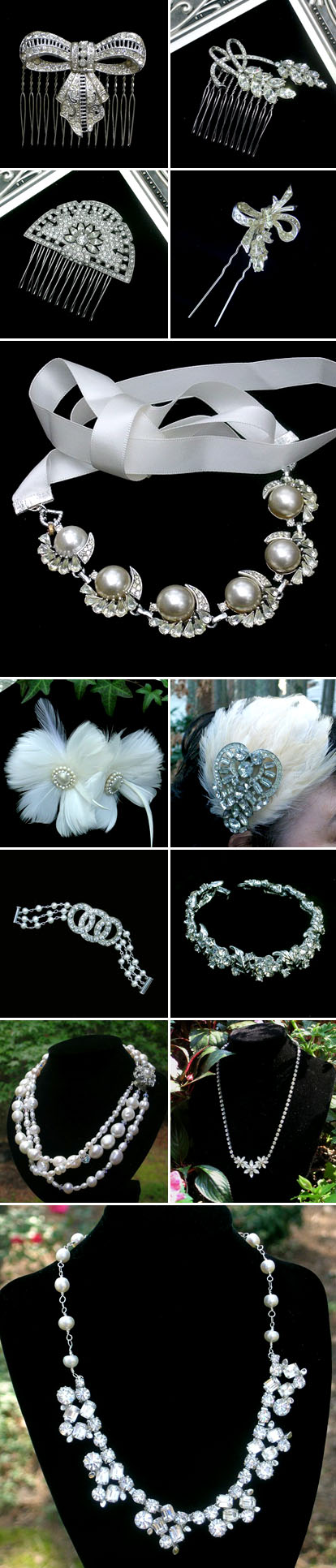 Authentic vintage wedding accessories and jewelry from Bel Canto Designs