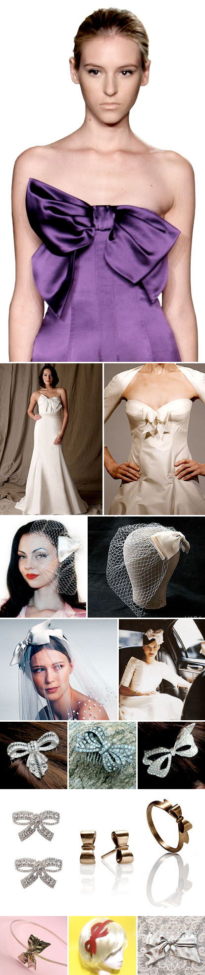 Bow and ribbon accented wedding dresses, veils, jewelry and accessories