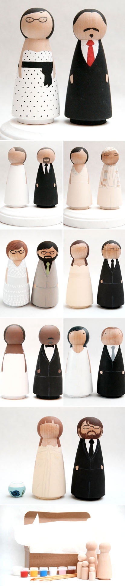 custom wooden doll wedding cake toppers from Goose Grease on Etsy.com